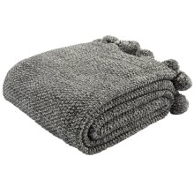 Pom Pom Knit Throw - Dark Grey/natural