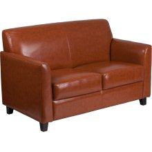 HERCULES Diplomat Series Cognac Leather Loveseat
