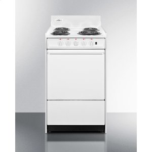 "Summit20"" Wide Electric Range With Indicator Lights and A Three-prong Line Cord"