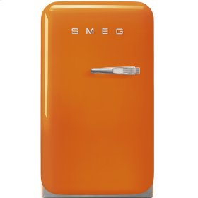 "Approx 16"" 50's Retro Style Mini Refrigerator, Orange, Left hand hinge"