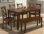 Simplicity Caramel Rectangle Dining Table With Six X Back Dining Chairs Product Image