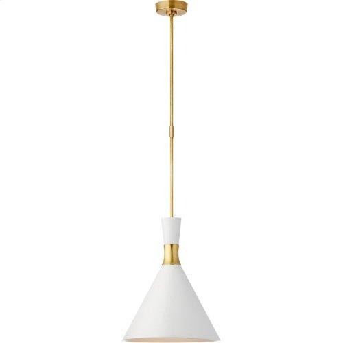 Visual Comfort S5641HAB-WHT Studio VC Liam 1 Light 15 inch Hand-Rubbed Antique Brass Pendant Ceiling Light, Medium Conical