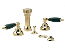 Four Hole Bidet Set Green Marble - Polished Brass