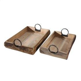 "S/2 Wood Trays 19x13x5"", Brown"