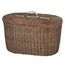 Woven Rattan Oval Trunk with Leather Handle.