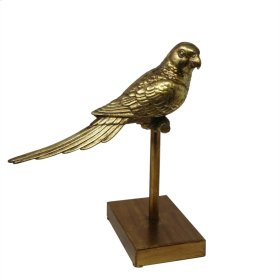 """Gold Parrot On Stand 11.75"""" Kd"""