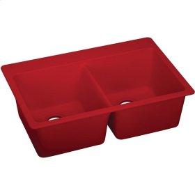 "Elkay Quartz Luxe 33"" x 18-1/2"" x 9-1/2"", Equal Double Bowl Undermount Sink, Maraschino"