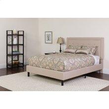 Roxbury Queen Size Tufted Upholstered Platform Bed in Beige Fabric