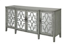Isabelle 4 Door Breakfront River Mist and Mirrored Sideboard