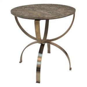 CRESTVIEW COLLECTIONSBengal Manor Curved Aged Brass Round Accent Table with Textured Marble Top