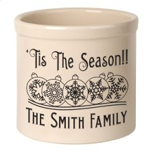 Personalized Snowflake Ornament 2 Gallon Stoneware Crock - Black Engraving / Bristol Crock