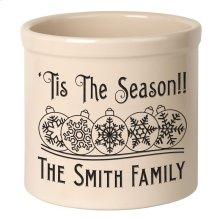 Personalized Snowflake Ornament 2 Gallon Stoneware Crock - Black Engraving / Bristol Crock