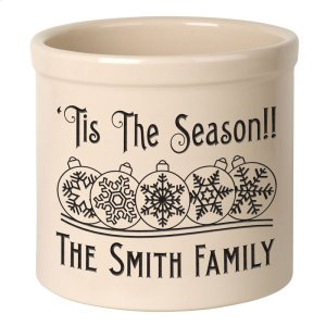 Personalized Snowflake Ornament 2 Gallon Stoneware Crock - Black Engraving / Bristol Crock Product Image
