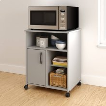 Microwave Cart with Storage on Wheels - Soft Gray