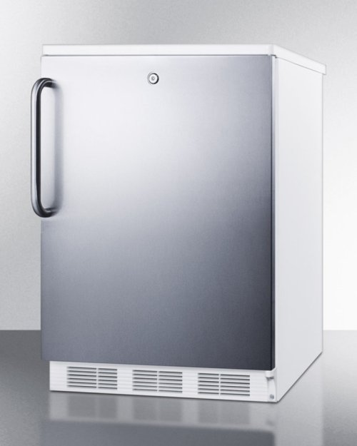Freestanding Refrigerator-freezer for General Purpose Use, With Lock, Dual Evaporator Cooling, Cycle Defrost, Ss Door, Towel Bar Handle and White Cabinet