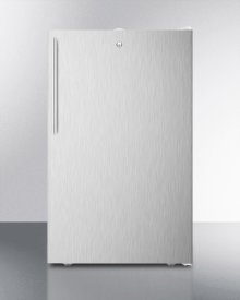 "Commercially Listed 20"" Wide Counter Height All-refrigerator, Auto Defrost With A Lock, Stainless Steel Door, Thin Handle, and White Cabinet"