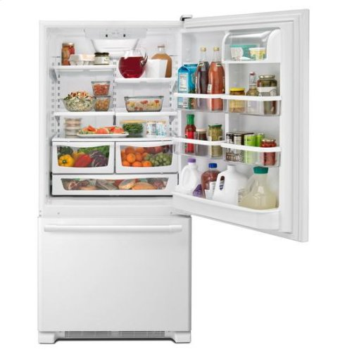 Maytag® 33-Inch Wide Bottom Mount Refrigerator - 22 Cu. Ft. - White-on-White