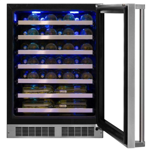"Marvel Professional 24"" Single Zone Wine Refrigerator with Hinge Pin - Stainless Steel Framed-Glass Door with Lock, Left Hinge"