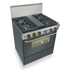 """Five Star30"""" Dual Fuel, Convect, Self Clean, Sealed Burners, Black with Brass"""