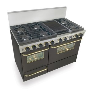 """Five Star48"""" Dual Fuel, Convect, Self Clean, Sealed Burners, Black with Brass Trim"""