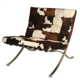 Barca Cowhide Accent Chair Brushed Stainless Steel Frame, Brown/White/Black