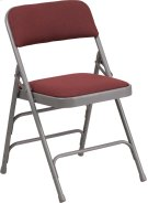 HERCULES Series Curved Triple Braced & Double Hinged Burgundy Patterned Fabric Metal Folding Chair Product Image
