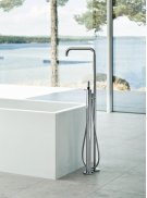 Free-standing bath mixer with hand shower, high 1080 mm - Grey Product Image