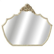 Distressed Ivory Mirror with Flowers.