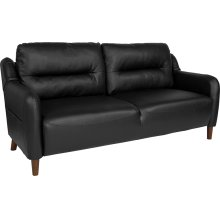 Newton Hill Upholstered Bustle Back Sofa in Black Leather