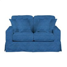 Sunset Trading Americana Slipcovered Loveseat in Indigo Blue