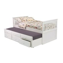Pine Ridge White Mission Captain's Bed with Trundle and Storage with options: White