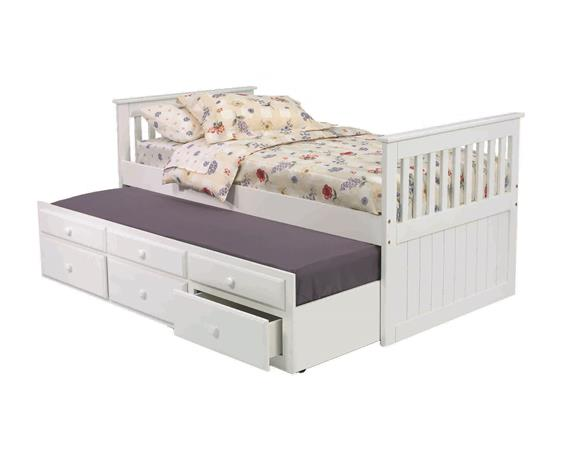 Pine Ridge White Mission Captainu0027s Bed with Trundle and Storage with options White Hidden  sc 1 st  Huck Finnu0027s & TBW650 in by Woodcrest in Albany NY - Pine Ridge White Mission ...