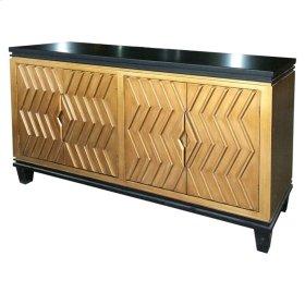 Alessio Artdeco Sideboard 4 Doors, Black/Gold