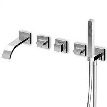 Built-in bath shower mixer, diverter, brass square handshower Z94178, shower hose 1500 mm, connections.