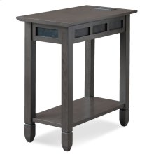 Smoke Grey Oak and Black Slate Chairside Table with AC/USB Charging #10060-GR