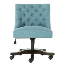 Soho Tufted Linen Swivel Desk Chair - Light Blue