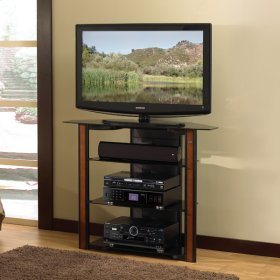 Bedroom Height Black A/V system Furniture with Real Wood Trim for TVs up to 42""