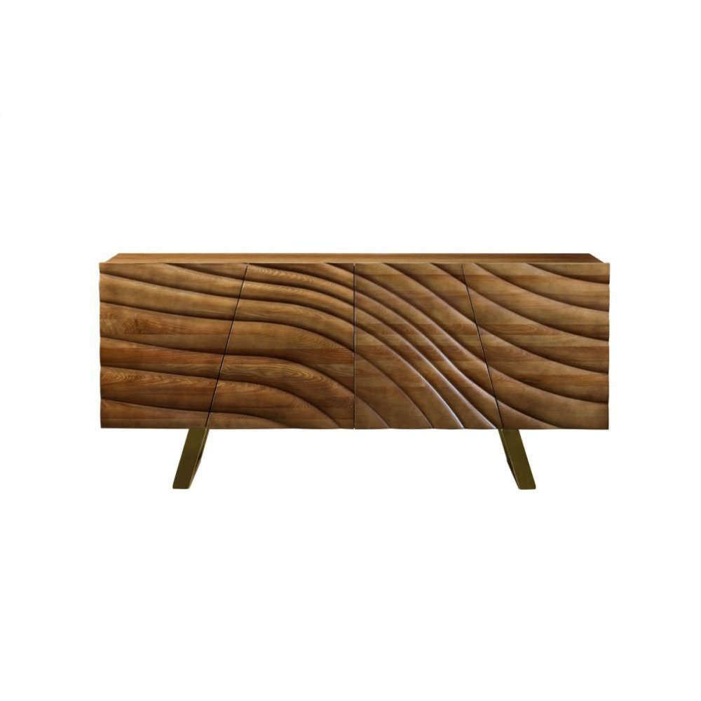 Modrest Finley Modern Walnut & Gold Buffet