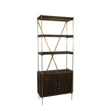 """Wood / Metal 74"""" Etagere W/ 2 Door Cabinet, Gray, Kd"""