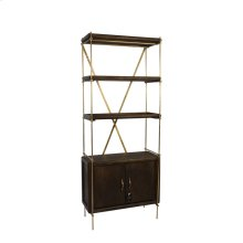 "Wood / Metal 74"" Etagere W/ 2 Door Cabinet, Gray, Kd"