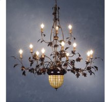 "63""W Greenbriar Oak 12 Arm Chandelier"