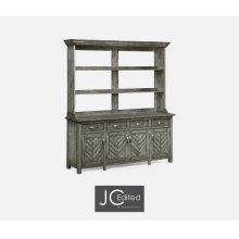 Antique Dark Grey Parquet Welsh Dresser with Strap Handles