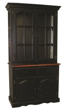 Sunset Trading Keepsake Buffet and Lighted Hutch in Distressed Black and Cherry Finish