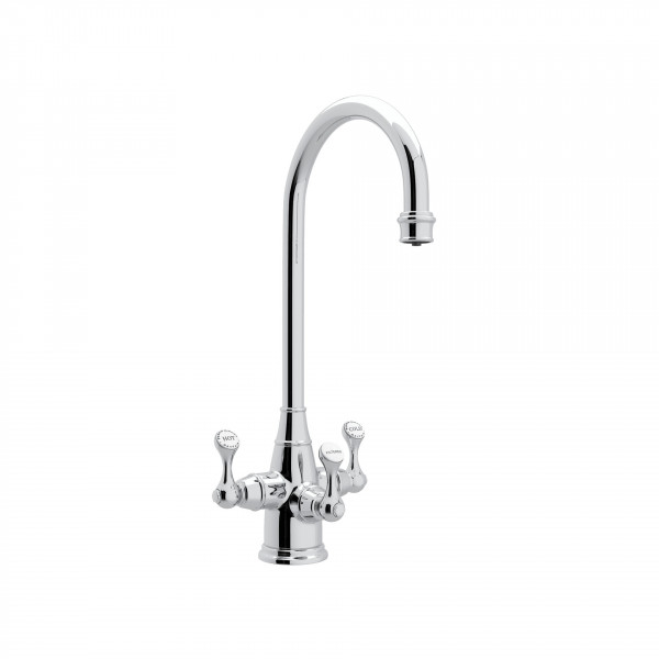 Polished Chrome Perrin & Rowe Georgian Era Filtration 3-Lever Bar/Food Prep Faucet with Etruscan Metal Lever