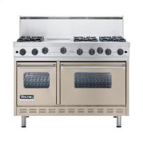 """Taupe 48"""" Open Burner Commercial Depth Range - VGRC (48"""" wide, six burners 12"""" wide griddle/simmer plate)"""