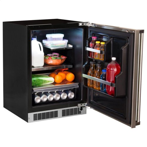 """24"""" All Refrigerator with Drawer Storage - Solid Stainless Door With Lock - Integrated Left Hinge, Professional Handle"""