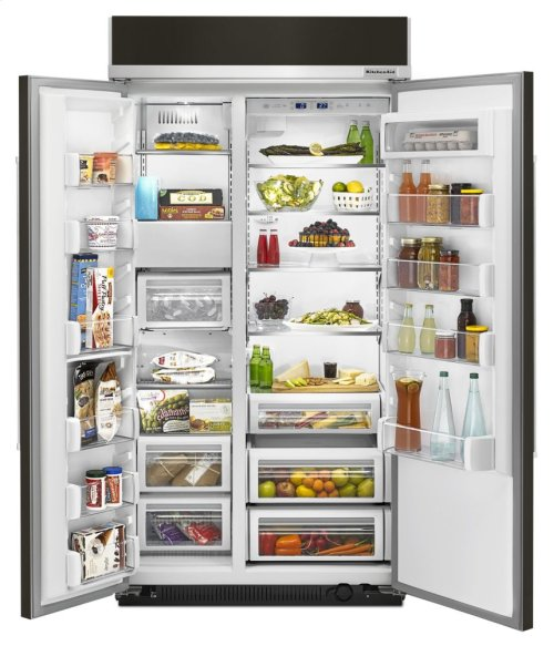 25.5 cu. ft 42-Inch Width Built-In Side by Side Refrigerator with PrintShield Finish - Panel Ready