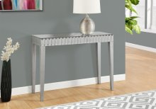 """ACCENT TABLE - 42""""L / BRUSHED SILVER / MIRROR"""