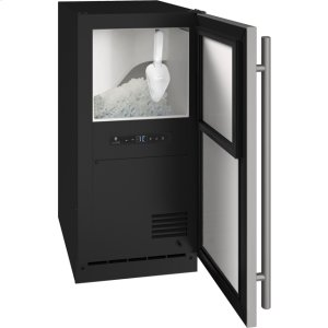 "U-LineAda Collection 15"" Nugget Ice Machine With Stainless Solid Finish And Field Reversible Door Swing, Pump Included (115 Volts / 60 Hz)"