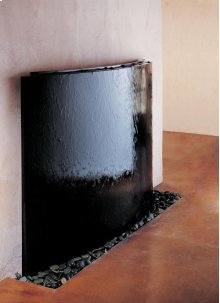 Curved Wall Fountain Black Curved Waterwall, Black Granite / Black Granite